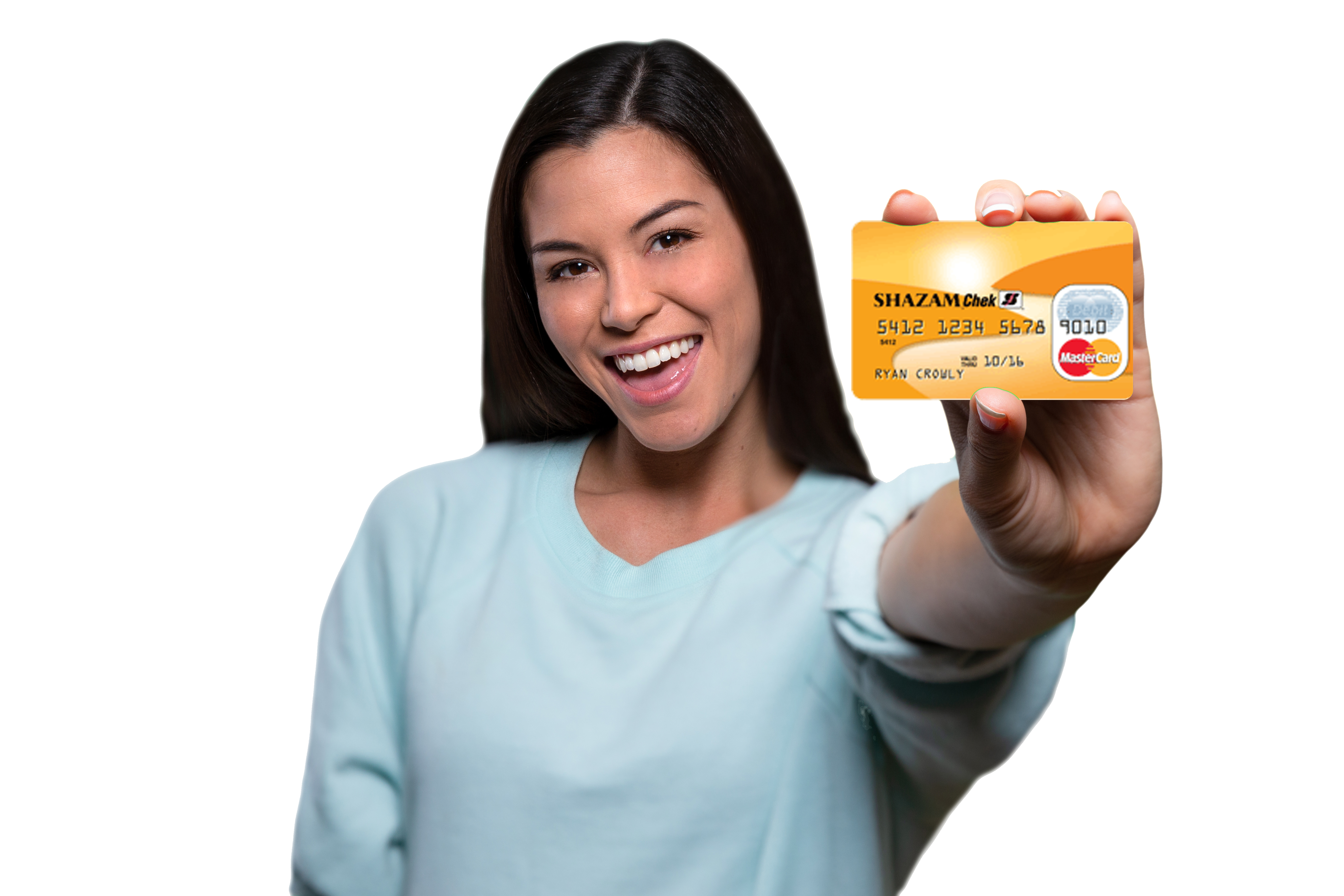Woman holding Shazam Card